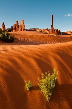 View of Totem Pole and Yei Bi Chei in Monument Valley