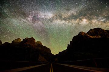 Milk way over SR9 in Zion National Park, Utah, USA