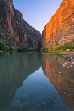 View of Rio Grande river during sunrise