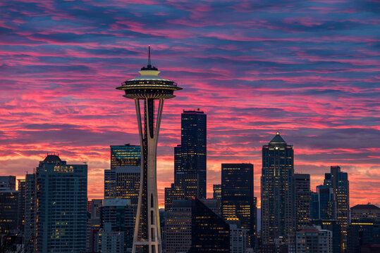 View of Space Needle tower and downtown Seattle during sunrise