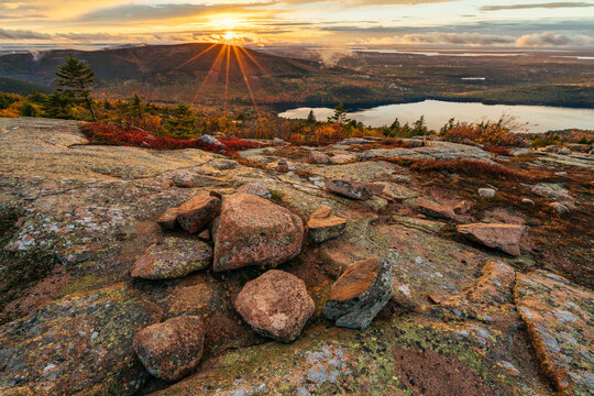 Scenic view of Acadia National Park during sunset