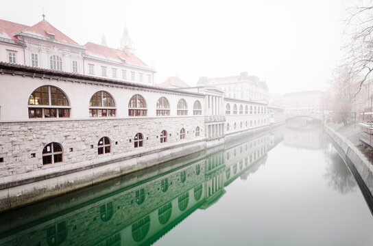View of buildings with canal in Ljubljana, Slovenia, Balkans