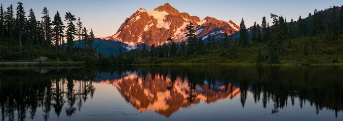 View of Picture Lake and Mount Shuksan during sunset