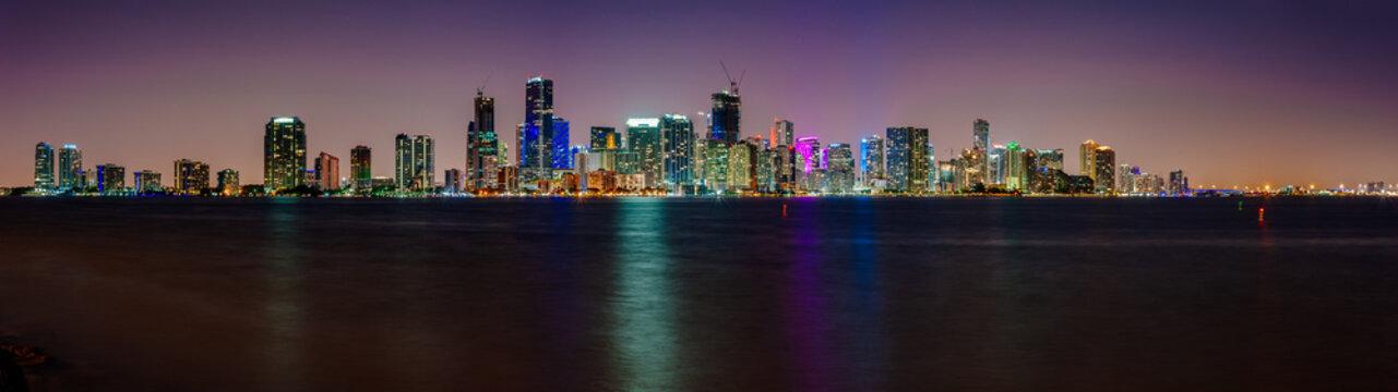 View of Miami skyline at twilight