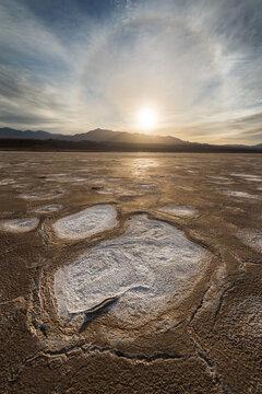 Sun dog halo over salt flat in Death Valley National Park