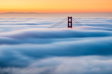 View of Golden Gate Bridge during sunrise