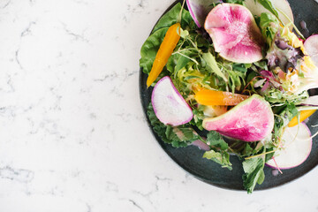 Overhead view of salad served on plate