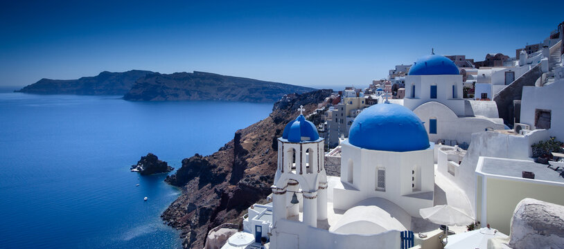 View of Oia village on island of Santorini in Greece
