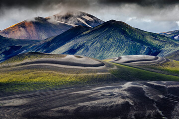 Lower lava drainages on Rhyolite hills of Landmannalaugar National Park in Iceland