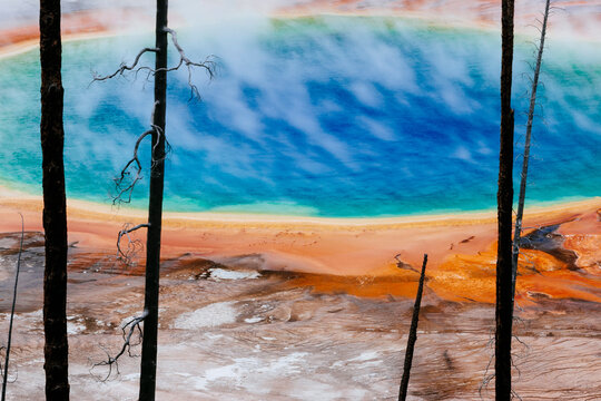View of Grand Prismatic hot spring in Yellowstone National Park