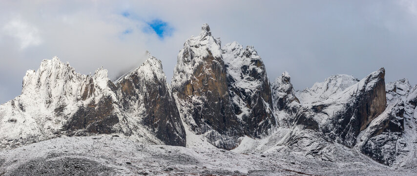 Scenic view of snow covered Mount Monolith