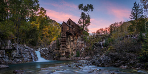 View of Crystal Mill during sunset