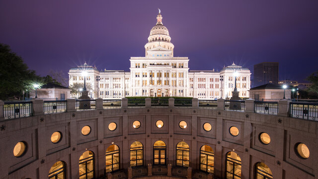 View of Texas State Capitol at night