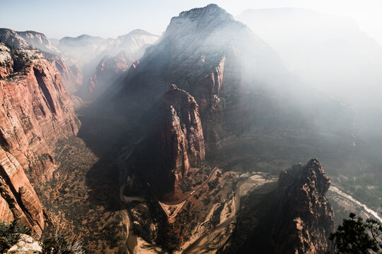 View of smoke over Brian Head in Zion National Park