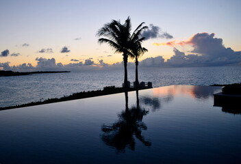 Scenic view of infinity pool and Caribbean Sea from Four Seasons Hotel
