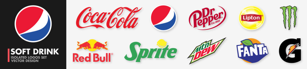 Soft drink logo company : Coca Cola, Pepsi, Dr Pepper, Lipton, Monster Energy, Red Bull, Sprite, Mountain Dew, Fanta, Gatorade. Vector icons set. Editorial : PARIS, FRANCE – SEPTEMBER 09, 2020