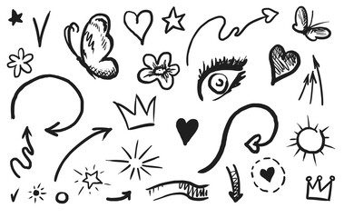 Swish swoop icon. Hand drawn emphasis element and calligraphy swirl isolated icon set. Doodle curly swish, swash, swoop collection on white background. Vector comic scribble sketch illustration