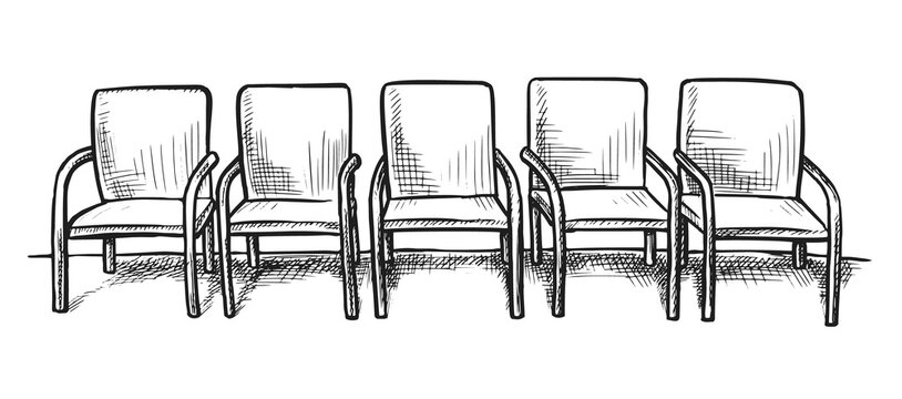 Waiting room sketch. Hand drawn empty chair seat row on white background. Business office or hospital hallway or waiting room doodle interior design. Vector furniture for visitor illustration