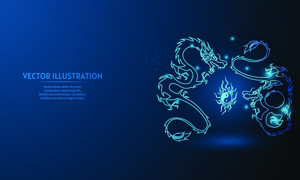 dragon with yin yang on blue abstract background. simple blue background. Starlight background