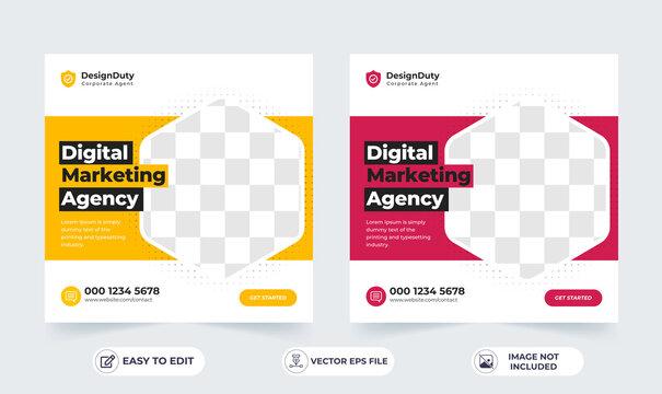 Online digital marketing agency banner for a social media post template
