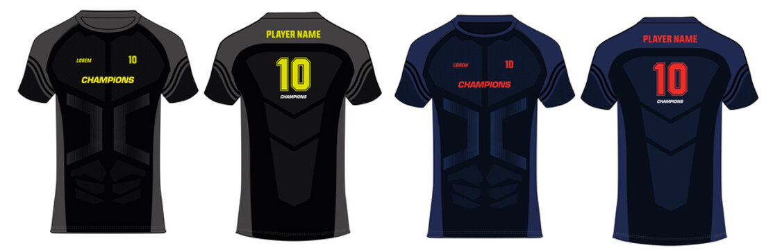 Sports t-shirt jersey design template, mock up uniform front and back view