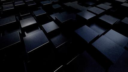 3D Rendering Of Black Cubic Illustration