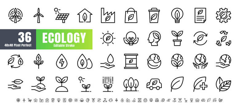 Vector of 36 Ecology and Green Energy Power Line Outline Icon Set. 48x48 and 192x192 Pixel Perfect Editable Stroke.