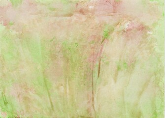 Hand painted watercolor foil printing background in green, ocher and pink