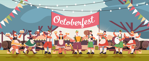 mix race people in face masks drinking beer and having fun Oktoberfest festival celebration concept landscape background full length horizontal vector illustration