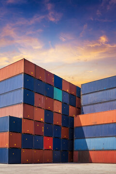 Colourful stack pattern of cargo shipping containers in shipping yard,dock yard for transportation,import,export industrial concept