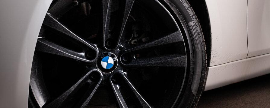 Zaporizhia, Ukraine, March 8, 2020. BMW 328i, bmw wheels style close-up.