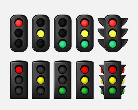Set of traffic light. Stoplight sign. Traffic lights with all three colors. Symbol regulate movement safety and warning. Illustration vector