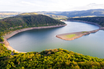the edersee lake in germany with its nature from above