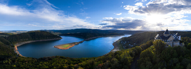 the edersee lake with castle waldeck in germany as high definition panorama