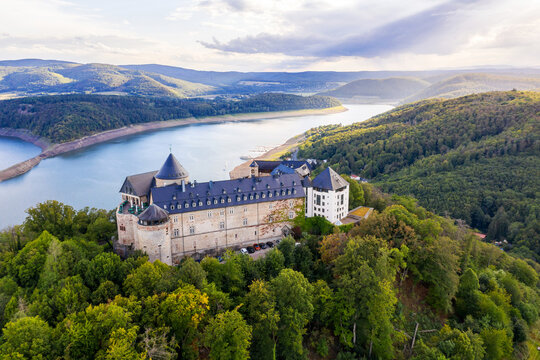 the edersee lake with castle waldeck in germany