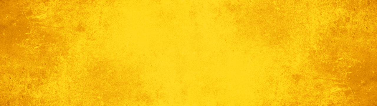 Abstract yellow watercolor painted paper texture background banner