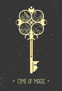 Modern magic witchcraft card with key sign on space background. Vector illustration