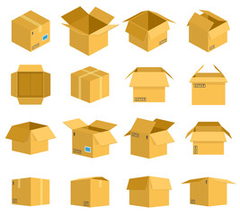 Cardboard box. Carton delivery packaging boxes, open and closed cardboard storage, mail postal parcel packaging vector illustration icons set. Objects for transportation or shipping of products