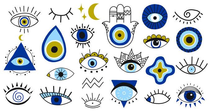 Evil eye symbols. Hand drawn eyes talismans, fatima hand, hamsa and turkish evil eye, sacred spirituality amulets vector illustration icons set. Magic, witchcraft, occult symbols, moon and stars