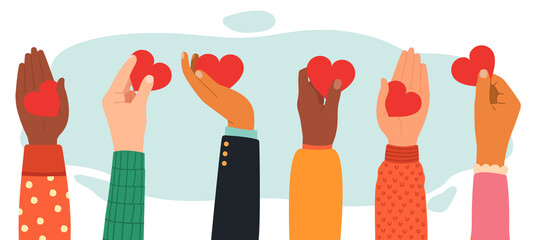 Hands charity concept. Give, share love to people, charity and donation hands with heart symbol, hands with love messages vector illustration. Volunteering, raised up diverse human palms