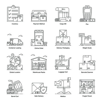 Delivery and Logistics Services Icons in Modern line Style Pack