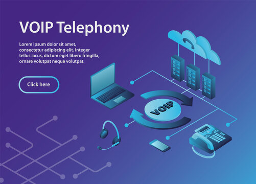 The scheme for constructing a VOIP system.Concept VOIP telephony, isometric, example site page.