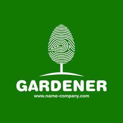 Photo sur Aluminium Vert Logo jardinier paysagiste arbre empreinte