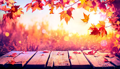 Autumn Table With Red Leaves - Color Vintage filter And Defocused Background With Bokeh
