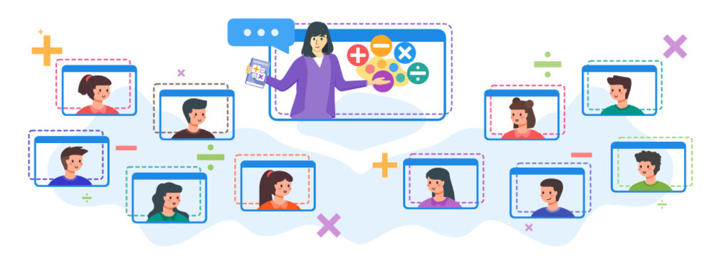 Adorable Kids or Children with Smile Happily Enthusiastic Attending Online Class with Female Teacher Explain Math on Screen During Distance Learning or Study at Home, Video Conference Webinars.