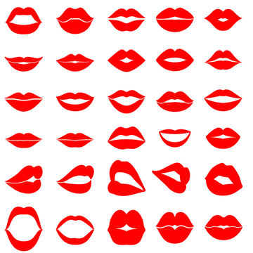 Woman's lip gestures icon vector set. Girl mouths close up expressing different emotions illustration sign collection. Kiss symbol.