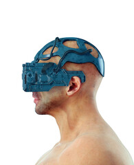 Man Wearing Cyberpunk Glasses isolated on White Background. 3D illustration