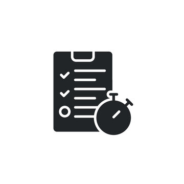 Exam, homework icon, solid style. Timing concept with classic stopwatch and check list. Vector illustration. Design on white background. EPS 10