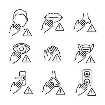 Avoid touching surfaces with face, mouth, nose, eyes, hand, mask, door knob, bus handle and lift panel button icons set. COVID-19 prevention. Line vector. Isolate on white background. EPS 10