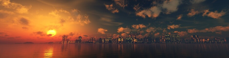 Wall Mural - City in the evening at sunset over the water, 3D rendering